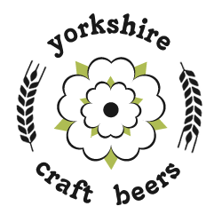 Yorkshire Craft Beers logo which is a white rose surrounded by white heads of barley in a circle